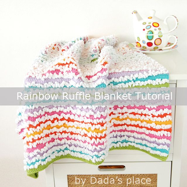 The Rainbow Ruffle blanket is super warm, soft, cuddly, and so easy to make! The pattern is unbelievable simple, the entire blanket is crocheted in double crochet.