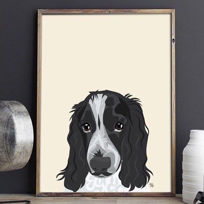 Personalised Peeking Pet Portrait Print  Illustrated Dog Portrait