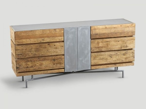 Industrial style reclaimed wood sideboard with 6 drawers and 1 door