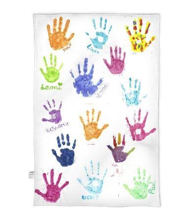 Fotodecke mit Handabdrücken