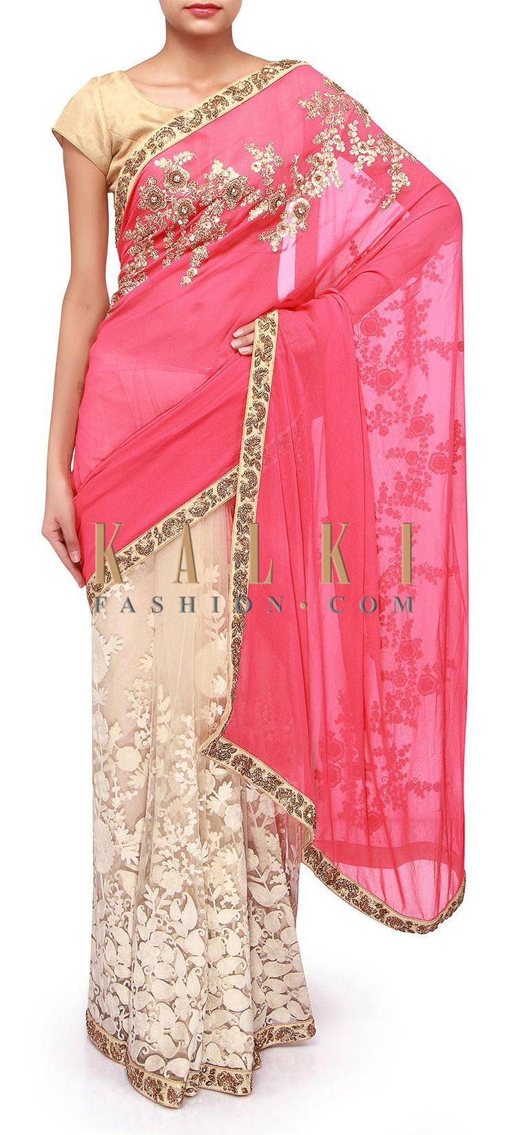 Buy Online from the link below. We ship worldwide (Free Shipping over US$100). Product SKU - 264380. Product Link - http://www.kalkifashion.com/half-and-half-saree-in-pink-and-cream-adorn-in-thread-only-on-kalki.html