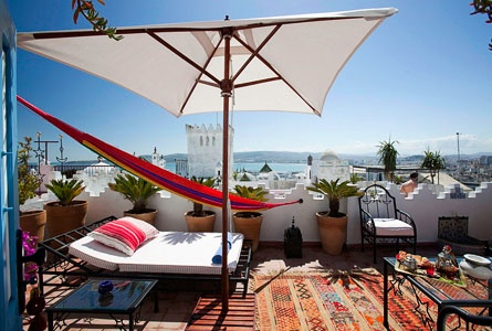 Riad Dar Sultan, traditional Moroccan home converted into an intimate hotel, overlooking the Strait of Gibraltar Tangier, Morocco