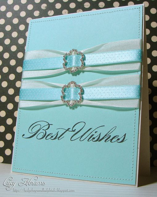 Pretty ribbon...Tiffany blue!: Wedding Cards, Good Ideas, Cute Ideas, Beautiful Ideas, Ribbons Cards, Handmade Cards, Cards Anniversary Wedding, Gorgeous Cards, Scrapbooking Cards Wedding