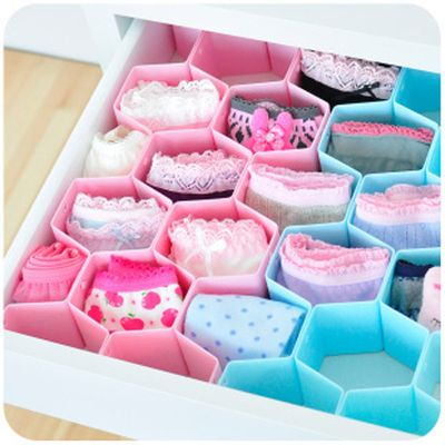 NC - DIY Drawer Divider for Socks, Underwear Organizer Storage Boxes Tidy Plate drawer organizer 8cs/set