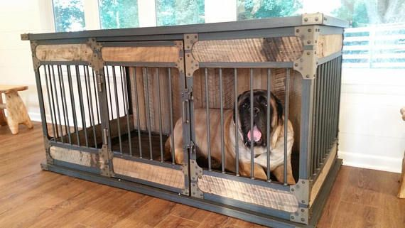 Extra Large Rustic Industrial Dog Kennel Dog Crate Riveted