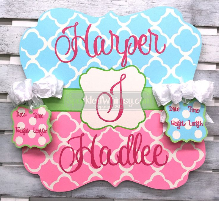 Birth Announcement - Door Hanger - Personalized Twin Baby Announcement Sign For Hospital Door for Girl and Boy (Sky Mist, Bubblegum Pink) by SparkledWhimsy on Etsy https://www.etsy.com/listing/183922864/birth-announcement-door-hanger