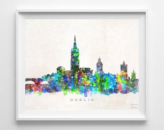 Dublin Skyline Print Ireland Poster Watercolor by InkistPrints