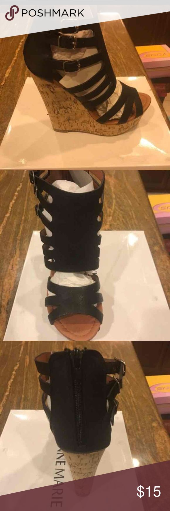Brand New Black Wedges High Heels Shoes Size 8 Brand new, in box. Super cute Wedges High heels with faux cork design. Price is firm.  Size-8 Shoes Wedges