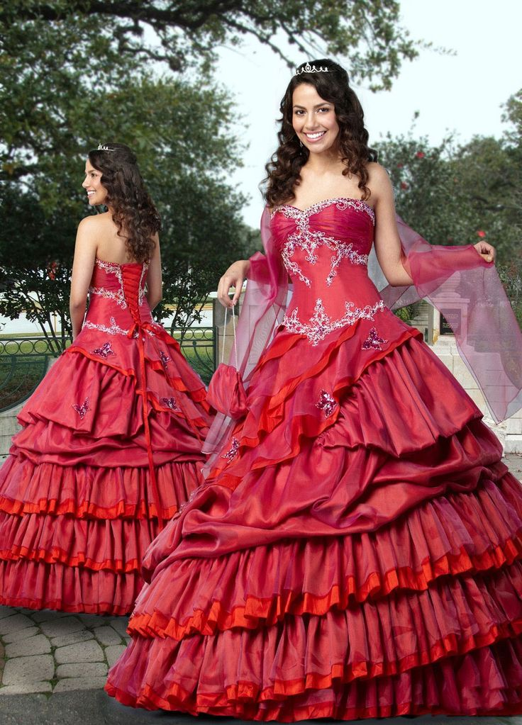Ball Gown Sweetheart Embroidery Ruffled Taffeta Floor-length Quinceanera Dress at sweetquinceaneradress.com