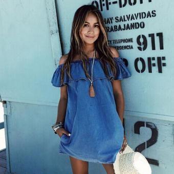 Vestido de las mujeres de los pantalones vaqueros Beach - Azul