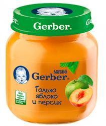 ГЕРБЕР пюре яблоко, персик с 5 мес 130г  — 81р. ---------------- Фруктовое пюре Gerber Яблоко и персик рекомендуется детям с 5 месяцев.   Пюре богато витаминами и минеральными солями, пектином, способным выводить из организма токсические вещества. Содержит органические кислоты и клетчатку, благоприятно воздействующую на работу кишечника. Срок введения прикорма рекомендован в соответствии с методическими указаниями Минздрава РФ. Фруктовое пюре рекомендуется добавлять в один из приемов пищи…