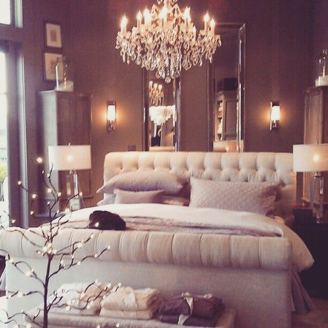 You Can Never Go Wrong With A Chandelier Over The Bed. Love This Roomu0027s  Vibe.love The Sleigh Bed But Would Be Better In Leather
