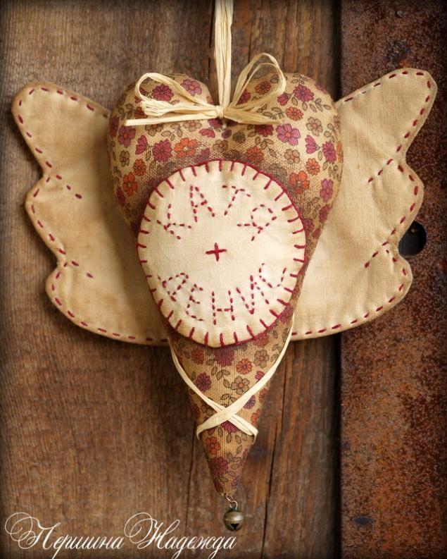 Именное сердечко с крылышками в винтажном стиле - Ярмарка Мастеров - ручная работа, handmade