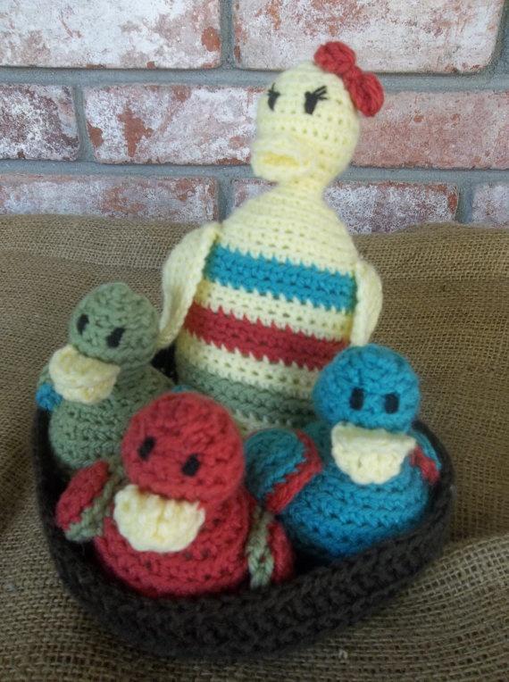 sweet little duck family by Evelyn Mae Crochet - $25
