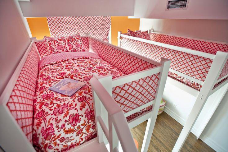 Roberta Roller Rabbit Alma print bedding in a Brooklyn Loft for two girls #lofts #bunkbeds