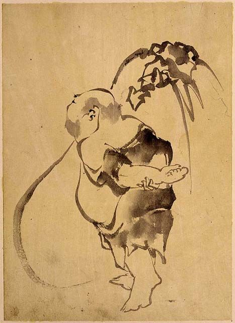 Katsushika Hokusai (1760-1849): Hotei;http://alongtimealone.tumblr.com/post/43913588522/drawpaintprint-katsushika-hokusai-1760-1849