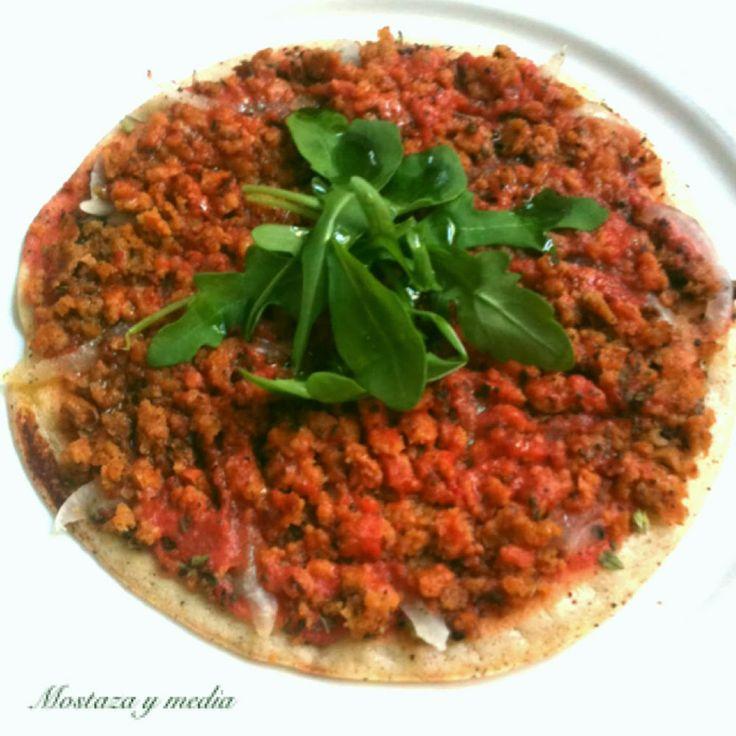 Lahmacun o pizza turca vegan #vegan #recipe #lahmacun #pizzaturca #chickpeas #spices