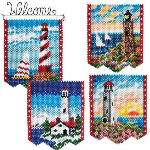 Herrschners®  Seasonal Lighthouses with Hanger Beaded Banner Kit