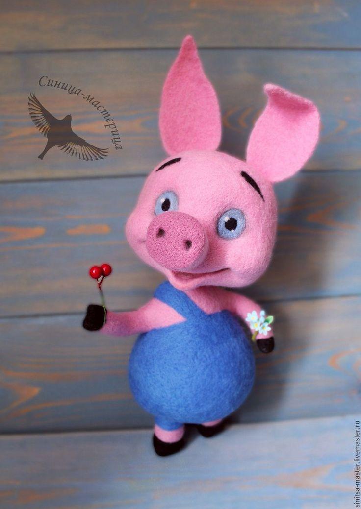 Купить Пятачок (валяная игрушка) - Пятачок, поросенок, Винни Пух, мультяшки, Валяние, игрушка валяная