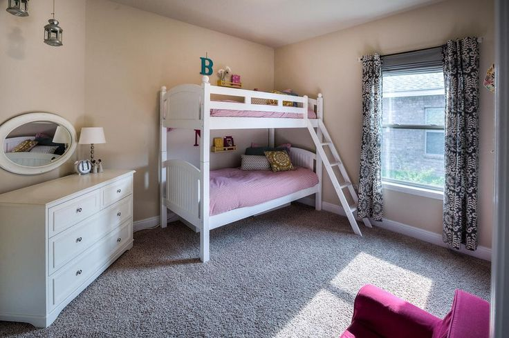 Traditional Kids Bedroom with High ceiling, Lyndale Mirror, Sybil Condo 6 Drawer Dresser, Carpet, Pendant Light