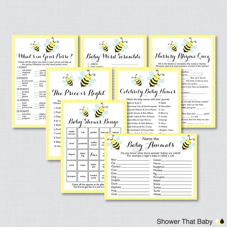 Bumble Bee Baby Shower Games Package In Yellow