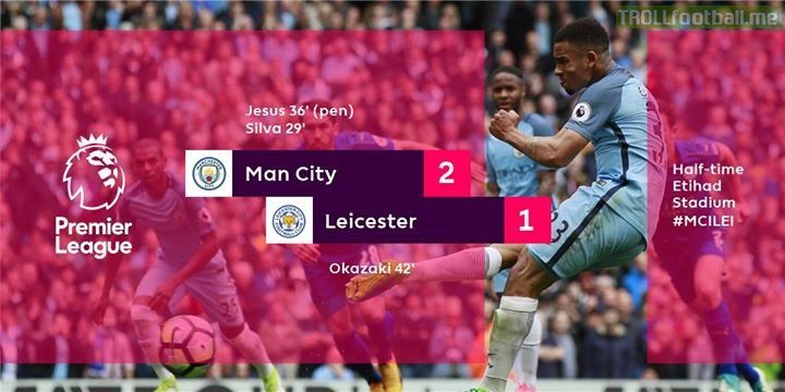 Shinji Okazaki scores a stunning volley but it's advantage Man City at the break
