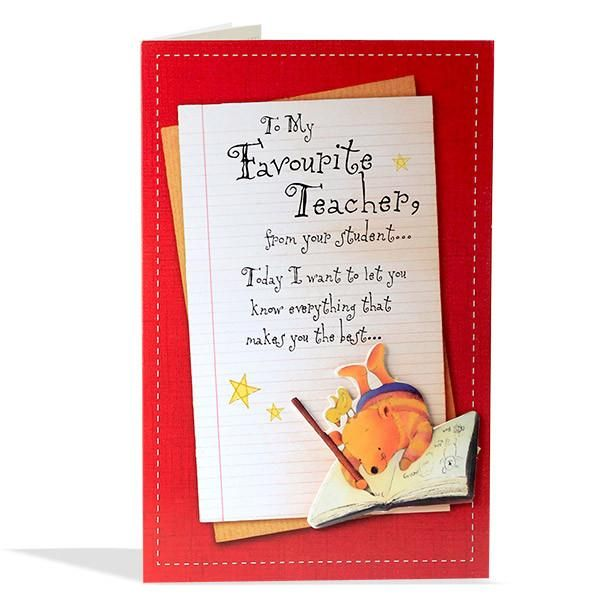 The 22 best age birthday cards images on pinterest age children s greeting for favorite teacher to my favorite teacher from your student today i want to handmade teachers day cardsteachers m4hsunfo