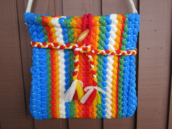 Vintage Woven Fabric Purse Brightly Colored by FancyVintageFinds, $20.00