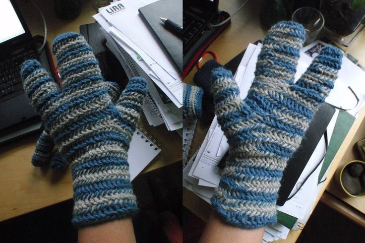 """Stripey test mittens with three fingers (!), by Elin. Posted [in Swedish] 2009-03-03 in her [at the time current] blog """"..ur ett insnöat liv"""" (""""..from a snowed-in life""""). Started at the index&longfinger top, needlebound down to hand, then circle around the ring&little finger to create that finger. After that, continue downwards, circle for the thumb. ~ New blog [also in Swedish] can be found at: http://mytextilelife.blogspot.se/ (but have yet to have some needlebind content..)"""