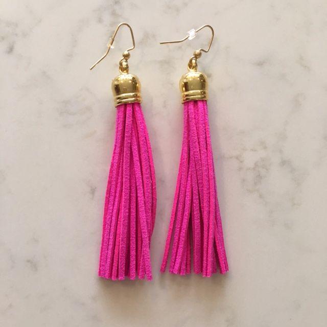 Hot Pink Tassel Earring
