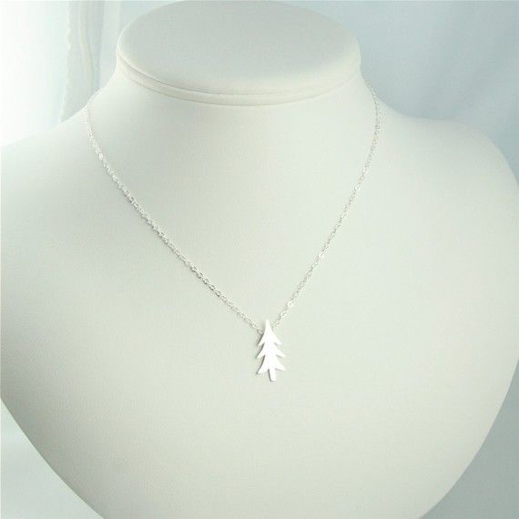 Silver Rustic Christmas Tree Necklace