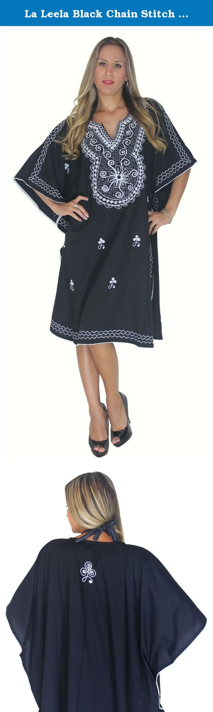 "La Leela Black Chain Stitch Embroidered Night Partywear Short Kaftan Caftan,One Size. Description:- ==> Welcome to LA LEELA ==> Enjoy Beach, Breeze and Nature with La Leela's ""VIBRANT BEACH COLLECTION"" and stay calm and classy! . ==> Fabric : DELICATE DESIGNER EMBROIDERED LIGHTWEIGHT SMOOTH RAYON FABRIC US Size : From Regular 14 (L) TO Plus Size 28W (4X) ➤ UK SIZE : FROM REGULAR 14 (M) TO 30(XXXL) ➤ BUST : 56 Inches [ 142 cms ]➤ Length : 43 Inches [ 109 cms ] ==> Clothing Type : Vintage..."