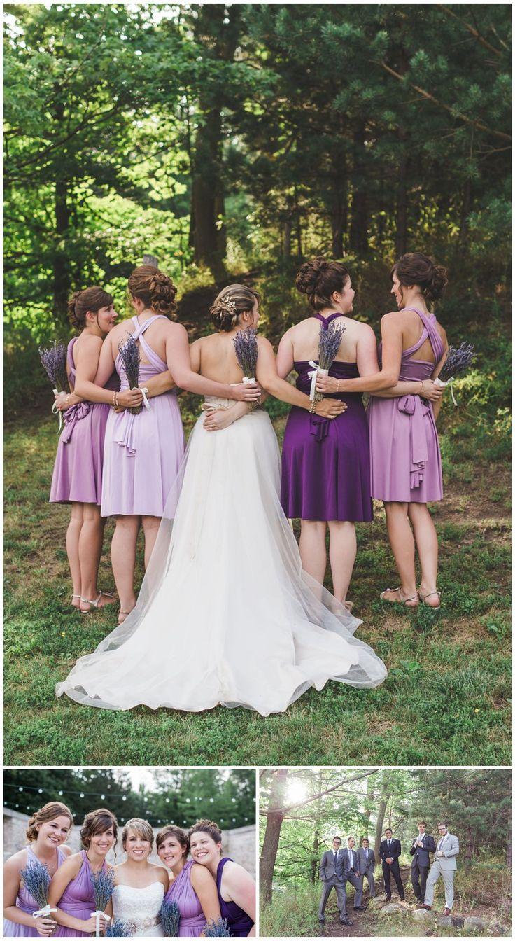 Bridesmaids in purple, Alton Mill Ontario- Alton Mill Wedding - Caledon Ontario Wedding Photography