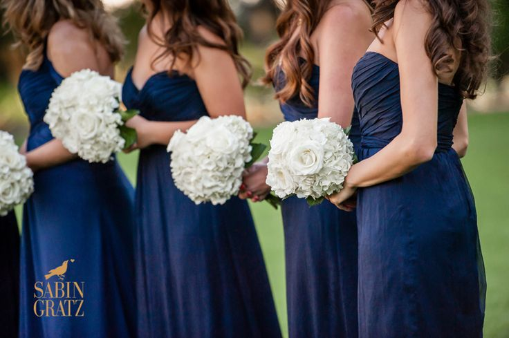 navy bridesmaid dresses with white flowers   Wedding Colors: navy ...