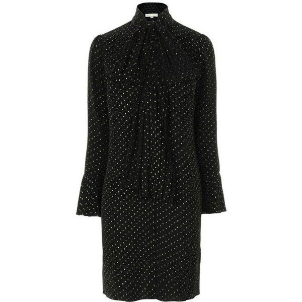 Michael Michael Kors Woven Neck Tie Dress (14,685 DOP) ❤ liked on Polyvore featuring dresses, long dresses, long glitter dress, long polka dot dress, long sleeve pleated dress and long-sleeve maxi dress