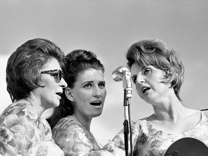 Mother Maybelle, Mother Maybelle  at the mic as the Carter Family performs during The Tennesseans Centenniai Park concert June 12, 1966