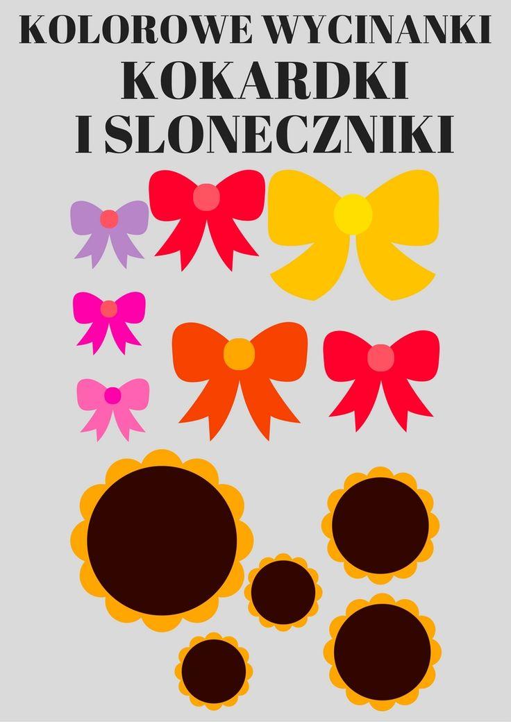 https://www.kredkauczy.pl/wycinanki-i-szablony kokardki i słoneczniki do wycinania- gotowe szablony do projektów plastycznych. Laurki, kartki, scenki, wycinanki