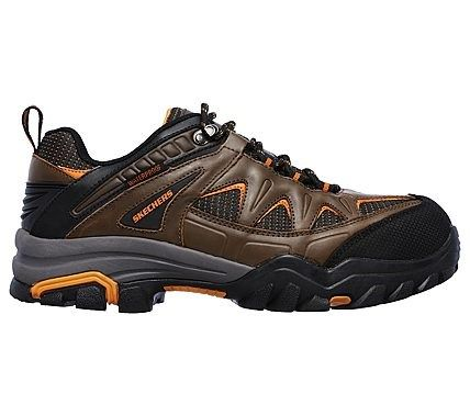 Skechers Work Men's Delleker Steel Toe Waterproof Lace Up Shoes (Brown/Orange)