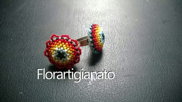 Anello arcobaleno seed beads rocailles perline peyote