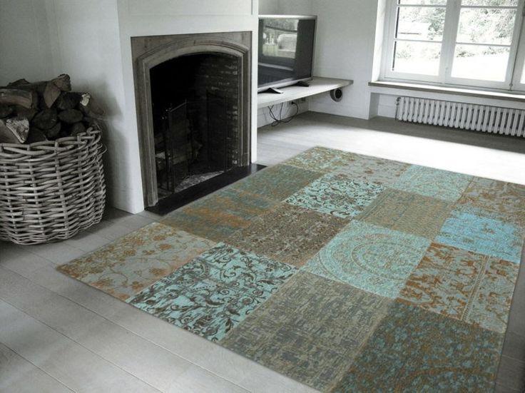 tapis salon patchwork en nuances grises, turquoise et beiges