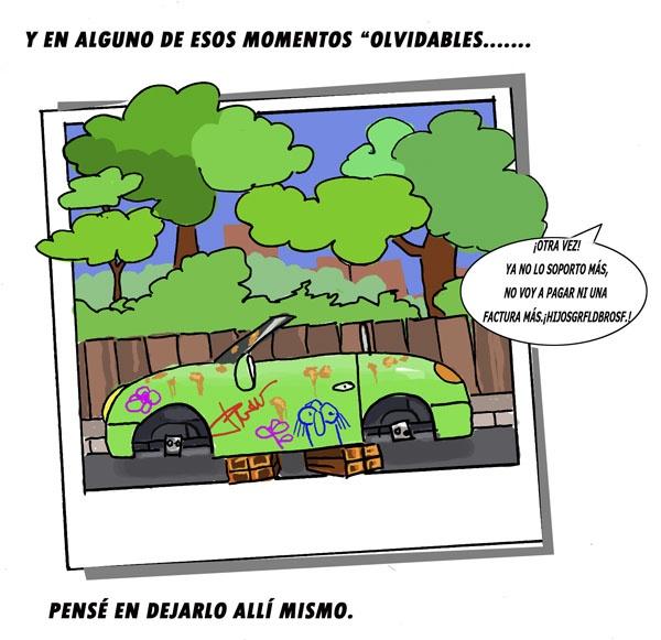 Quinta viñeta del #EcoComic #coches #abandonados #desguaces