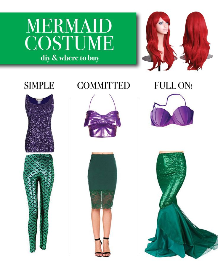 Mermaid Costume Ideas – DIY – 3 Options: Simple, Committed, Full on!