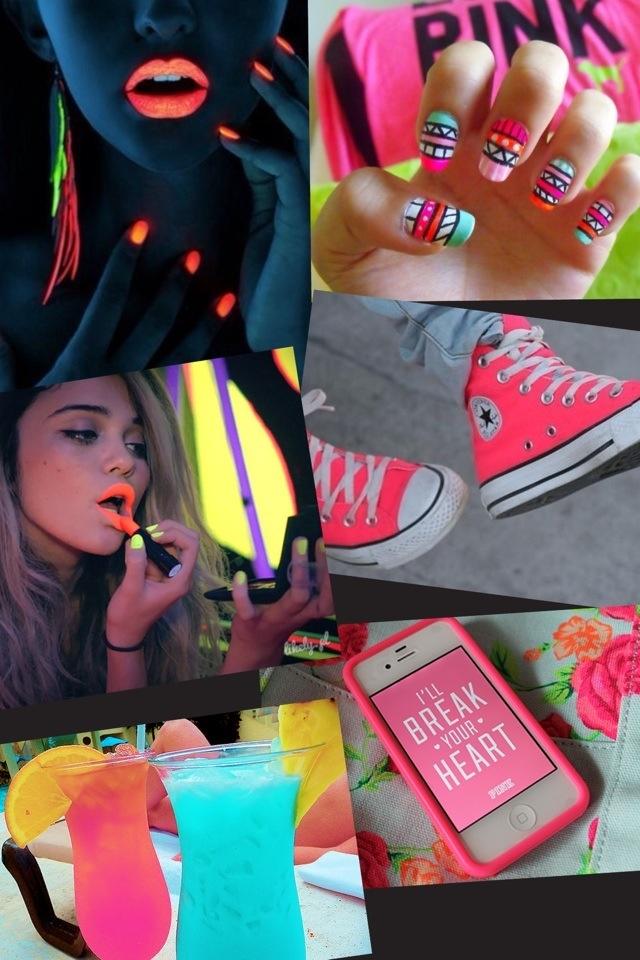 Neon fashion! Shoes, nail art, makeup, accessories x