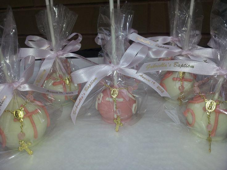 Cake Pop Centerpieces For Baptism : Elegant Baptism Cake Pops Baptism cakes, Baptism cake ...