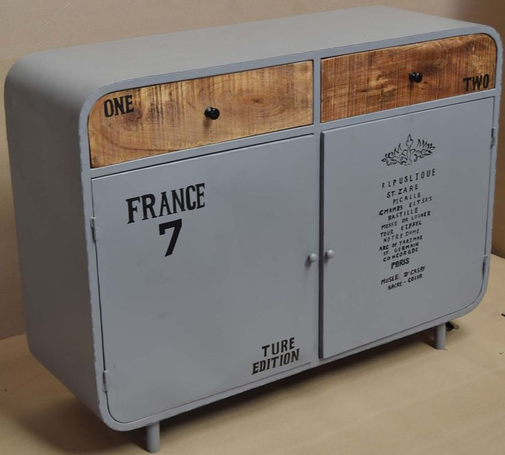 Retro Vintage Industrial Cabinet. French Furniture