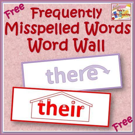 Free Word Wall of Easily Confused Words #homophones