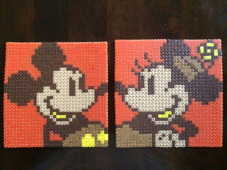 Disney Perler Beads: Autumn (Fall) Mickey and Minnie made by Daniel Nasiatka.