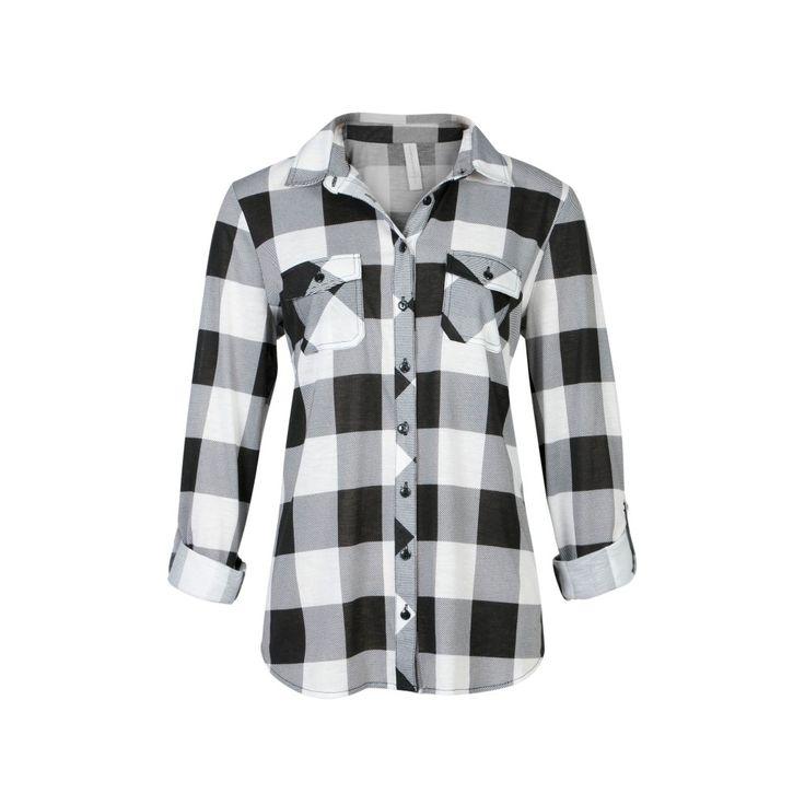 Relaxed Fit Knit Buffalo Plaid Shirt