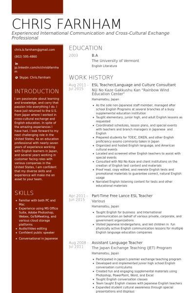 esl teacher/language and culture consultant Resume example