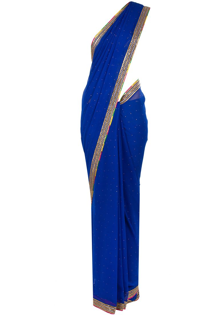 Sapphire sari with embroidered blouse available only at Pernia's Pop-Up Shop.